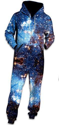 (Bodycon4U Men Unisex Blue Galaxy Comic Adult Hoodie Onesie Pajamas Cosplay Costumes Hooded Jumpsuit)