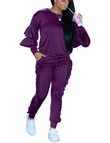 Casual Ruffle Two Piece Outfits Pullover Tops and Pants Jumpsuit Set for Ladies Purple L ()