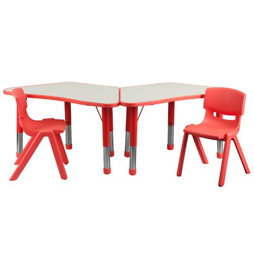 Flash Furniture Red Trapezoid Plastic Activity Table Configuration with 2 School Stack Chairs Review
