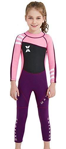 3c352e4d93 DIVE   SAIL Toddler Girls Neoprene Full Body Wetsuit Long Sleeve 2.5mm  Thickness Thermal Siwmsuit for Swimming 2-3T Pink