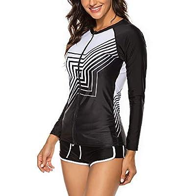 Wolddress Womens Long Sleeve Rashguard Swimsuit Sport Swimwear Tankini Set at Women's Clothing store