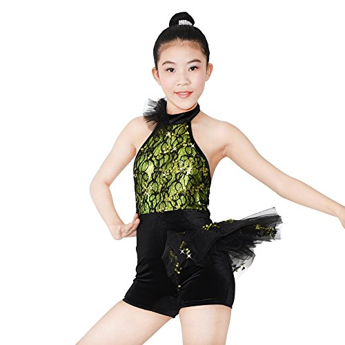 MiDee Jazz Biketard Dance Costume Halter Neck Lace Sequined Latin Outfits For Girls (IC, Green) - Disco Dance Costumes For Competitions