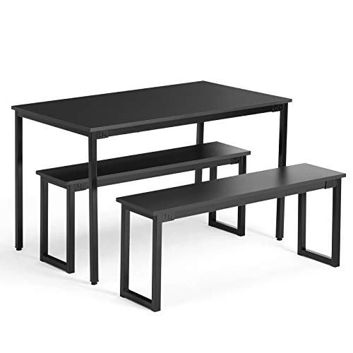 Cheap Artist Hand Dining Table, 3 Piece Kittchen Table Set with 2 Benches,Dining Room Table Furniture with Steel Frame(Black)