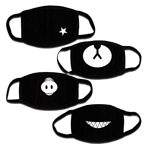 Teenitor Anti Dust Anime Mask Cotton Mask, Cut EXO Anti Dust Face Mouth Mask for Kids Teens Black - 4pcs A Set ()