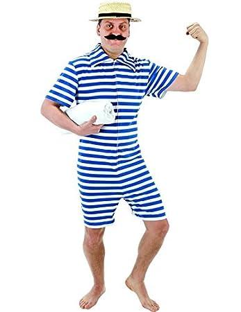costume uomo da bagno anni 20 uomo forzuto a righe blu