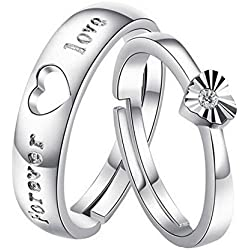 Adjustable silver plated Finger Rings Fine Fashion Forever Love Steel Ring Women&Men Gift Silver Jewelry