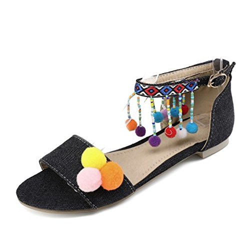 SJJH Nubuck Falt Sandals with Cute Ankle Strap Boho Chic Sandals with Large Size 11 UK Available Black