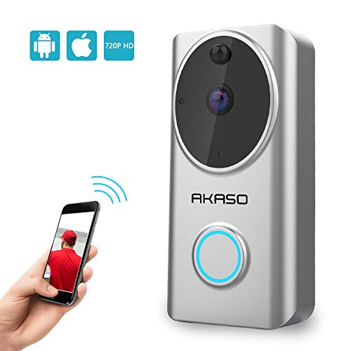 Video Doorbell Wireless WiFi,AKASO Smart Doorbell Camera with Motion Detector,720p Security Camera w/166° Viewing Angle Works with Alexa,Two-Way Audio & Cloud Storage,Night Vision for iOS Android by AKASO (Image #8)