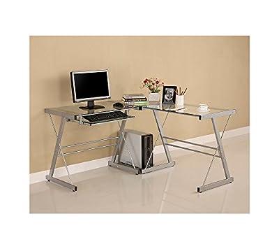 W.Designs Soreno L-Shaped Silver Glass and Metal Computer Desk