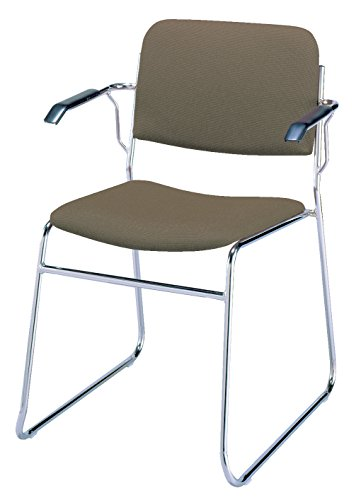 (KFI Seating 311 Stacking Chair Sled Base, Commercial Grade, Brown Fabric, Made in the USA)