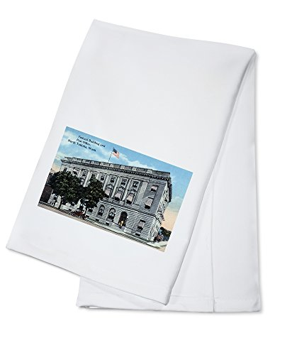 Yakima, Washington - Exterior View of Federal Bldg and Post Office (100% Cotton Kitchen Towel)