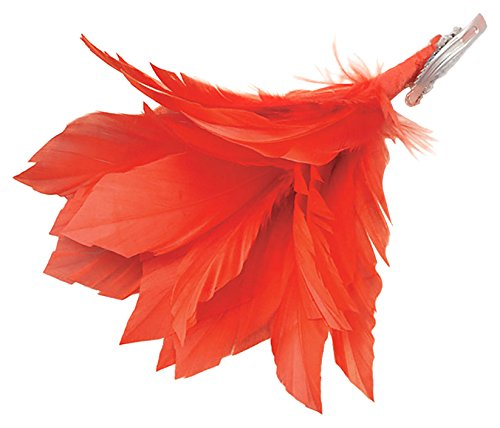 Bristol Novelty BA1010 Feather Hair Clip Red, Womens, One Size -