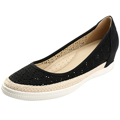 Alexis Leroy Round Toe Breathable Slip On Women's Espadrille Shoes Dark Black