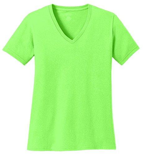 Port & Company Women's 54 oz 100% Cotton V Neck T Shirt M Neon Green ()