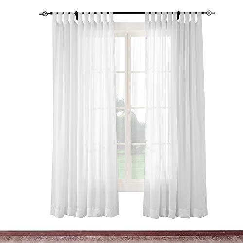 cololeaf Semi-Sheer Curtains Indoor Outdoor Living Room | Bedroom | Library | Classroom| Hotel | Club - Tab Top - White 84