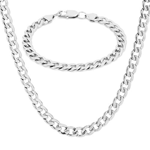 SAKAIPA 18K Gold Plated Silver Stainless Steel Men's Necklace Bracelet Jewelry Set Cuba Chain Necklace