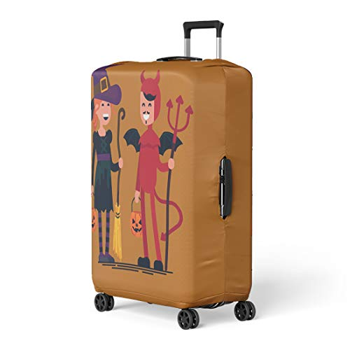 Pinbeam Luggage Cover Lovely Character on Halloween Kids Wearing Costumes Happy Travel Suitcase Cover Protector Baggage Case Fits 18-22 inches