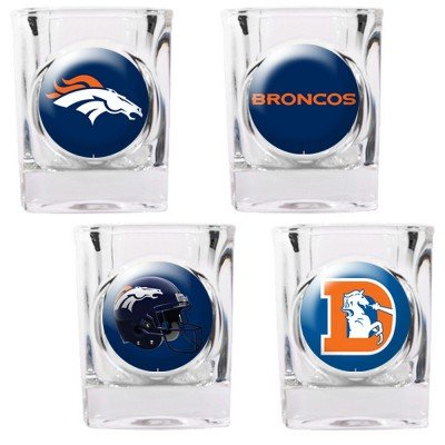 Denver Broncos - 4 Piece Square Shot Glass Set w/Individual Logos (Nba 4 Piece Square)