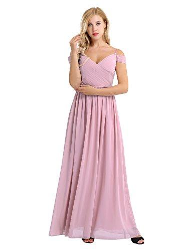 YiZYiF Women's Chiffon V Neck Flare Flowy Long Maxi Bridesmaid Formal Party Dress (10, Dusty Rose) - 10 Dusty Rose