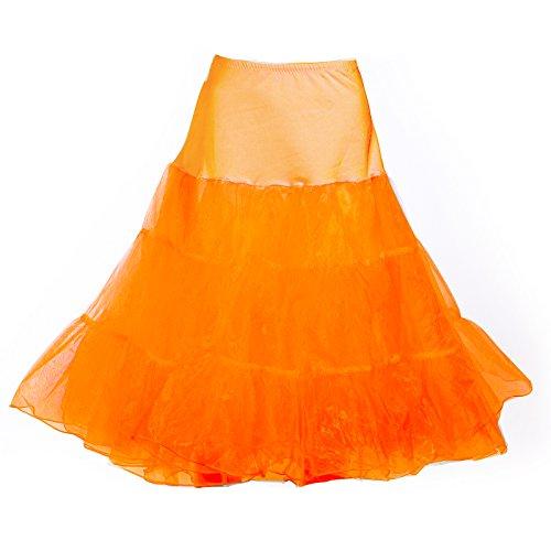 Modeway Women's Vintage 50s Crinoline Skirt Knee Length Skirts(L-XL,Orange)y33