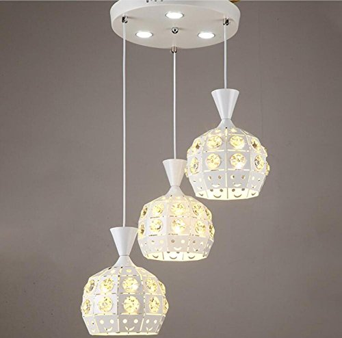 GL&G Modern luxury living room lighting iron lamp shade living room lights home meal chandeliers,LED Bulb Included, Warm White Light,3pcs,1822cm by GAOLIGUO