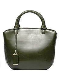 Women's Genuine Leather Tote Bag Retro Middle Size Shoulder Handbag