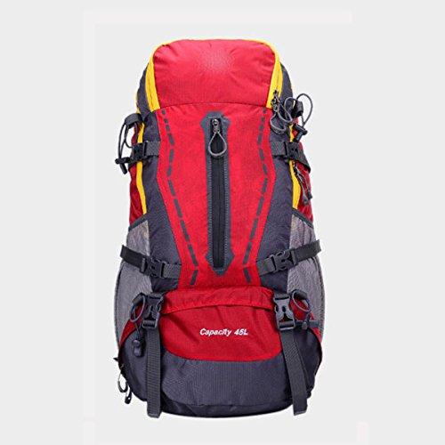LQABW Alpinismo Profesional Del Bolso De Hombro 45L Impermeable Al Aire Libre Que Va De Excursión Masculinos Hombres Y Las Mujeres Universal Mochila,Red Red
