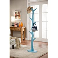 Kings Brand Contemporary Tree Style Wood Coat and Hat Rack Stand, Turquoise Blue