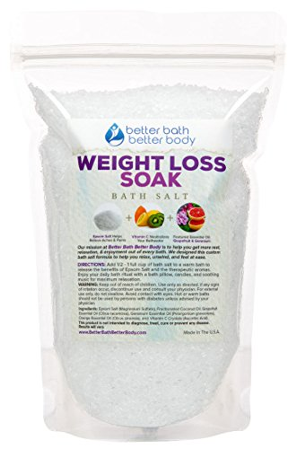 Weight Loss Bath Salt - Pure Epsom Salt Bath Soak With Grapefruit & Geranium Essential Oil & Vitamin C - Helps Promote Weight Loss Naturally With Pure Ingredients - No Perfumes & No Dyes