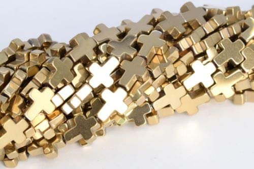 10x8mm Champagne Gold Hematite Cross Grade Natural Gemstone Loose Beads 16