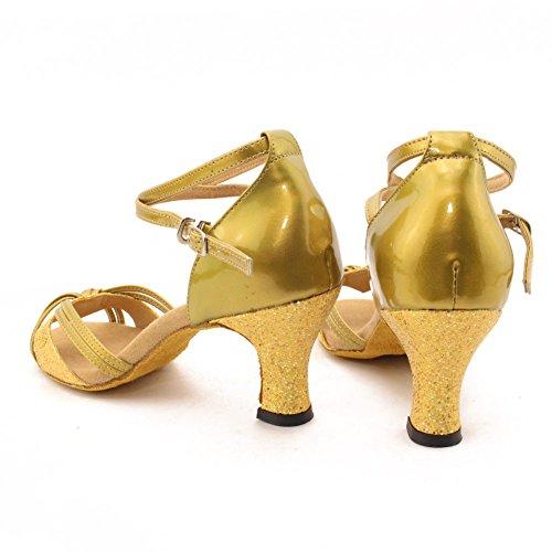 Zicac-Nuevo de las Mujeres de Moda Salsa Tango Zapatos de Baile Latino Sandalias dorado