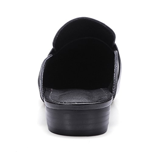 Enmayer Donna Agnello Australiano Punta Quadrata Tacchi Spessi Solidi Pantofole Casual Primavera E Autunno Nero
