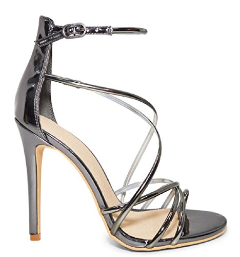 Beast Fashion Pia-01 Pewter Stiletto High Heel Sandal (7.5 B(M) US) -