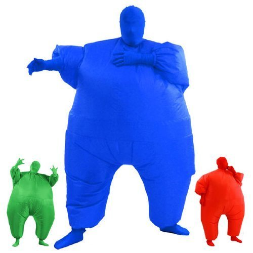 [AirSuits Inflatable Fat Chub Suit Second Skin Fancy Dress Party Costume - BLUE by AirSuits] (Inflatable Chub Suit Costume)