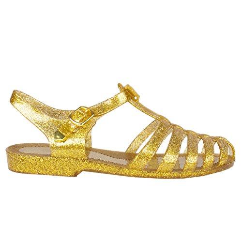 8d601b62ed6d Galleon - New Women Summer Retro Jelly Slingback Strappy Heel Rain Sandals  5 B(M) US Gold Glit