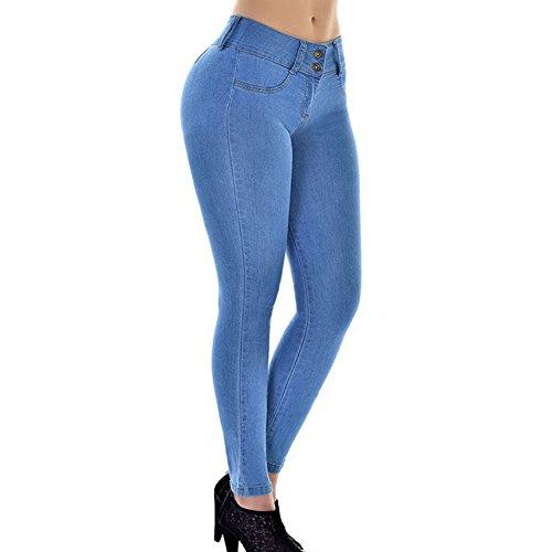 Clair Up Droit Comfort Femme pour Jeans Crayon Pantalons Push Leggings Slim Denim Mode Bleu B04zwOq
