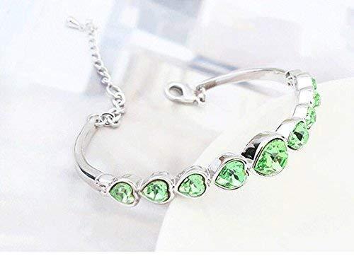 Women Elegant Leng Elegant Pretty Bracelet Women's Extravagance Luxury Elegant Jewelry Crystal Bracelet (Olive Green)