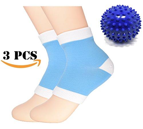 Ellewin Unisex Moisturizing Heel Gel Sock 2 PCS, Spiky Massage Ball 1 PC