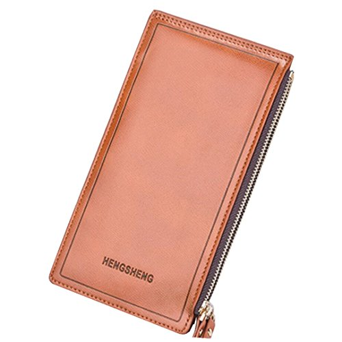 Unisex Leather Wallet Large Capacity Card Holder Business Long Phone Billfold Wallet with Zipper Pockets for Women and Men (Orange)