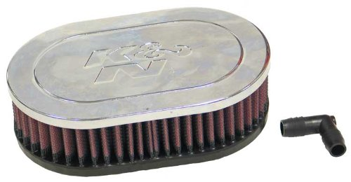 K&N RA-071V Universal Clamp-On Air Filter: Oval Straight; 2.063 in (52 mm) Flange ID; 2 in (51 mm) Height; 7 in x 4.5 in (178 mm x 114 mm) Base; 7 in x 4.5 in (178 mm x 114 mm) Top