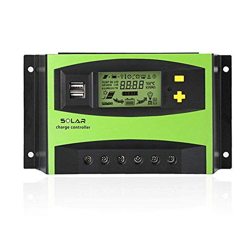 Tellunow 40A PWM Solar Charge Controller 12V/24V Solar Panel Battery Intelligent Regulator with LCD Display and USB Port, Temperature(40A)