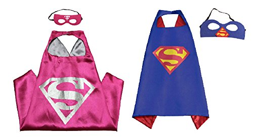 Athena Dress Up Superman & Supergirl 2 Capes, and 2 Masks Gift Box Included