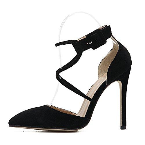 tacco stile europeo Scarpe di con alto tirante primavera cava black trasversale singolo sexy bene Lo YMFIE scamosciato appuntiti ed estate Donna Scarpe E5qFnwZwTp