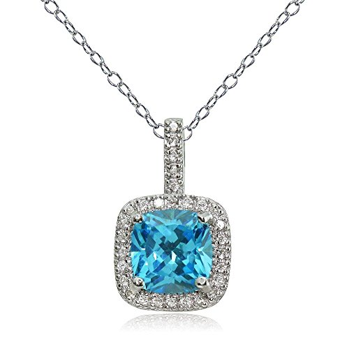 Ice Gems Sterling Silver Light Blue & Clear Cubic Zirconia Cushion-Cut Necklace
