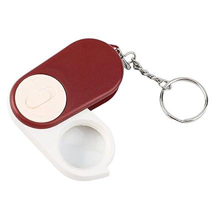 Lupa de lupa de bolsillo plegable LED 10X lupa llavero de ...