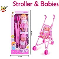 Toy Arena Baby Doll Stroller Foldable Baby Pram for Baby Fully Assembled Pretend Play Carrier Stroller Toy with Baba and Baby Doll for Kids (No Recline Position,& Assorted Color Stroller)