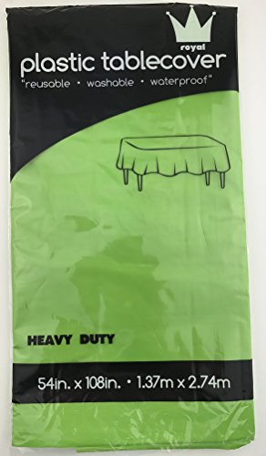 Royal 7 Pack of:6 Plastic Table Cloth 54 x 108, Plastic Party Table Cover, Reusable Plastic Table Cloth, Disposable Rectangular Table Cover (LIME GREEN, 6)