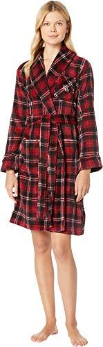(Lauren Ralph Lauren Women's So Soft Short Shawl Collar Robe Red Plaid X-Large)