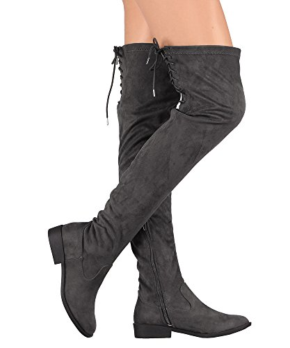 RF RAUM DER MODE Suede Back Lace-Up Overknee Reitstiefel Holzkohle