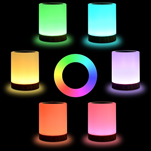 KMASHI Night Light, Bedside Table Lamps for Bedrooms, LED Rechargeable Portable Touch Lamp with Dimmable 2800K-3100K Warm White Light & Color Changing RGB by KMASHI (Image #2)